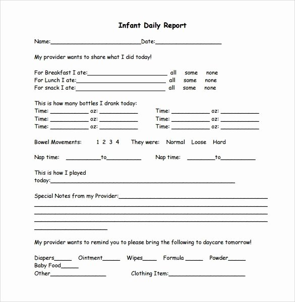 Infant Daily Report Template Fresh 6 Daily Report Templates Website Wordpress Blog