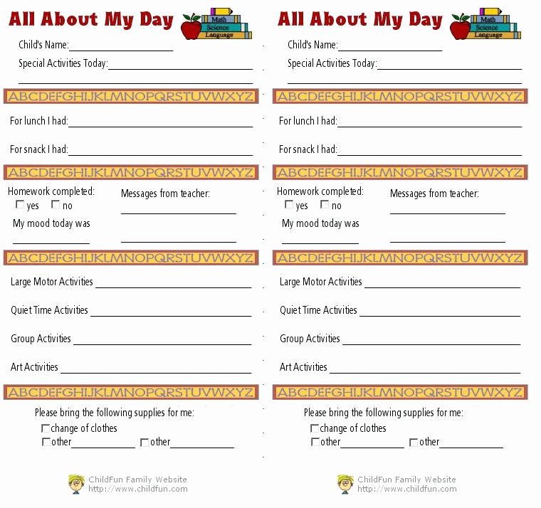 Infant Daily Report Template Lovely Child Care Daily Reports Printable forms toddler Report