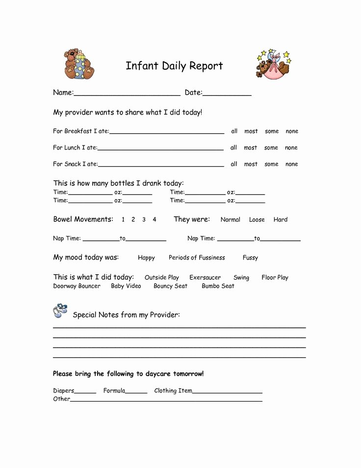 Infant Daily Report Template Luxury 25 Best Ideas About Infant Daily Report On Pinterest