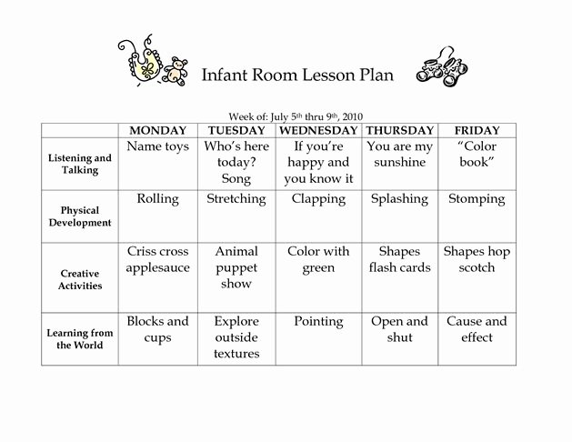 Infant Lesson Plan Template Best Of Infant Room Lesson Plan Westlake Childcare by Linzhengnd