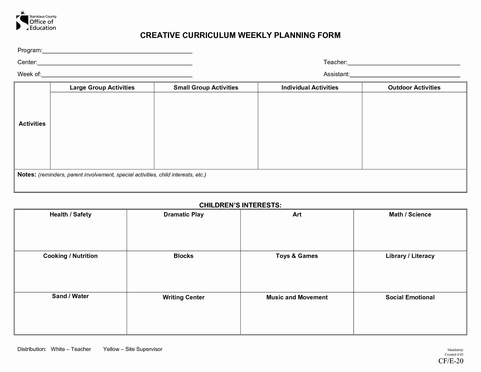 Infant Lesson Plan Template Fresh Creative Curriculum Blank Lesson Plan
