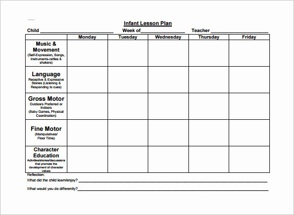 Infant Lesson Plan Template Fresh toddler Lesson Plan Template – 10 Free Word Excel Pdf