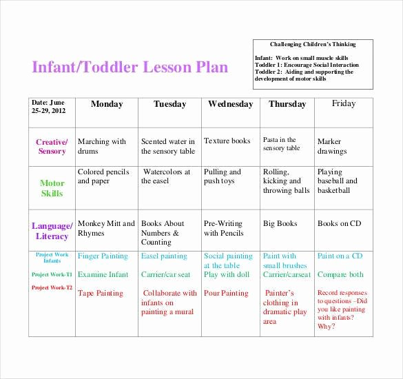 Infant Lesson Plan Template Inspirational 59 Lesson Plan Templates Pdf Doc Excel
