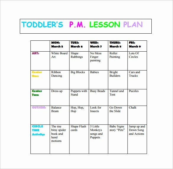 Infant Lesson Plan Template Inspirational 8 toddler Lesson Plan Templates Pdf Word Excel