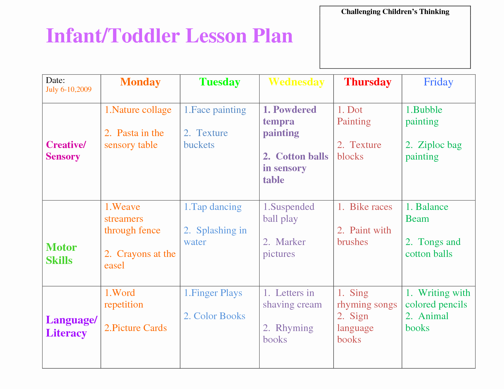 Infant Lesson Plan Template Inspirational Infant Blank Lesson Plan Sheets