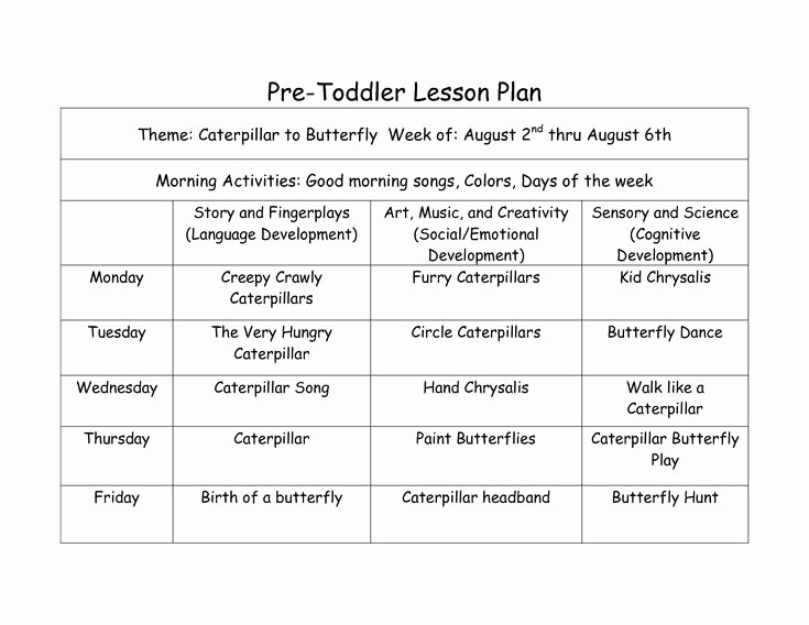 Infant Lesson Plan Template Lovely Pre toddler Lesson Plan