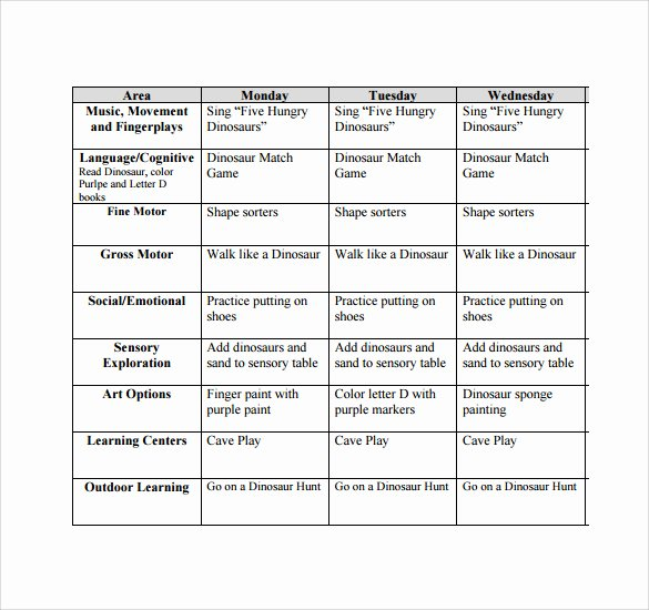 Infant Lesson Plan Template Luxury 9 toddler Lesson Plan Samples