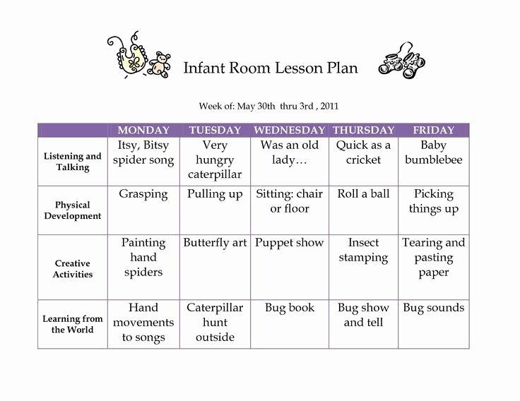 Infant Lesson Plan Template Unique Creative Curriculum