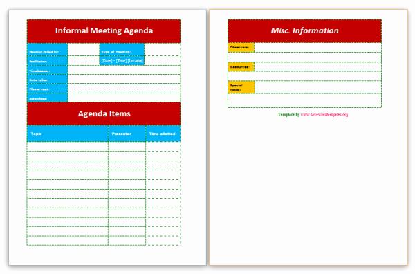 Informal Meeting Minutes Template Best Of Informal Meeting Agenda
