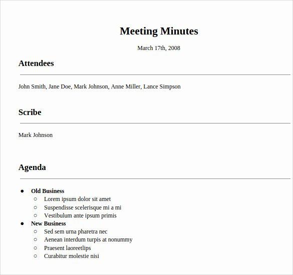Informal Meeting Minutes Template Inspirational Meeting Minutes Template 16 Download Free Documents In