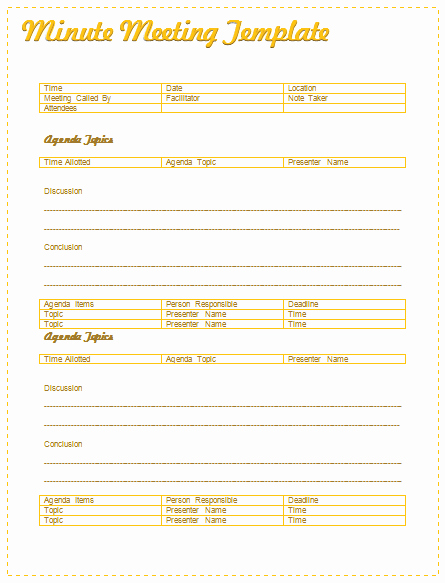 Informal Meeting Minutes Template Lovely Meeting Minutes Template Best for formal Informal Meetings