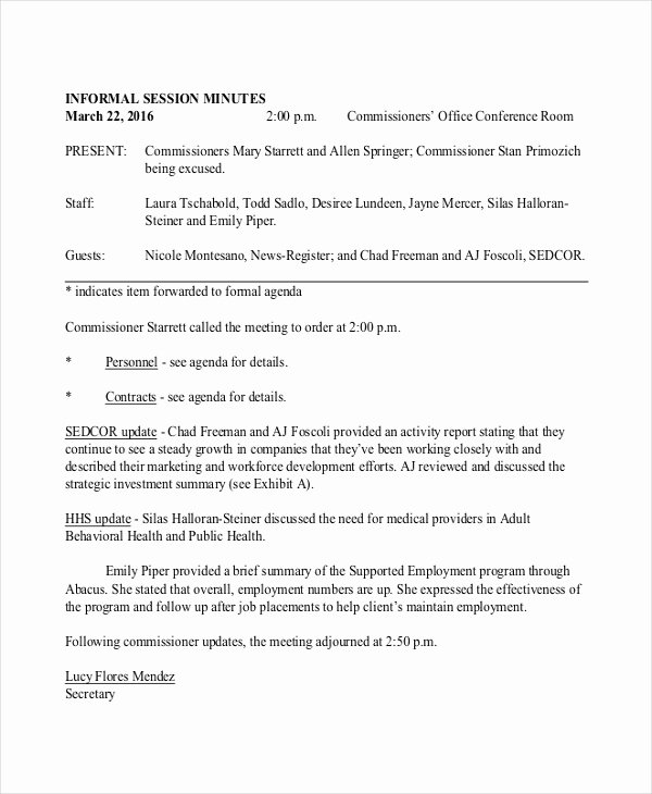 Informal Meeting Minutes Template New Informal Minutes Template – 9 Free Word Pdf Documents
