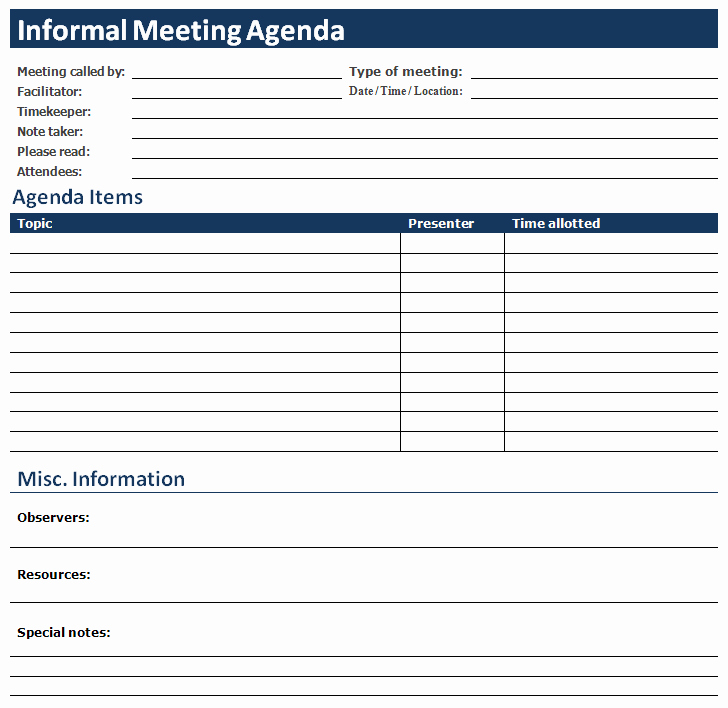 Informal Meeting Minutes Template New Ms Word Informal Meeting Agenda