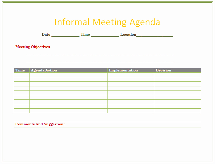 Informal Meeting Minutes Template Unique Informal Meeting Agenda Template organize Meetings
