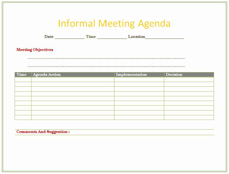 Informal Meeting Minutes Template Unique Informal Meeting Agenda Template organize Meetings