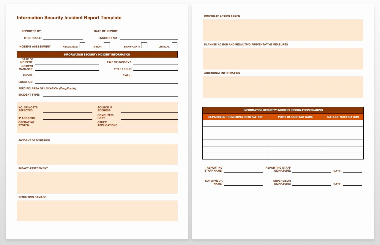 Information Security Program Template Inspirational Free Incident Report Templates Smartsheet