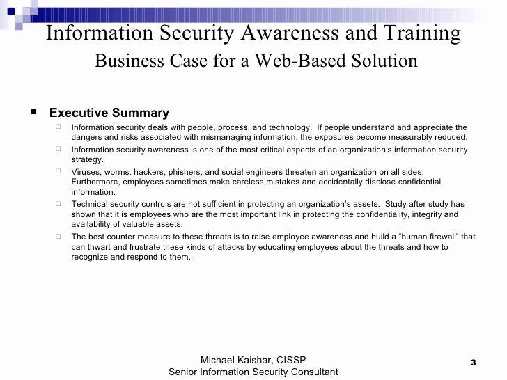 Information Security Program Template Unique Information Security Awareness and Training Business Case