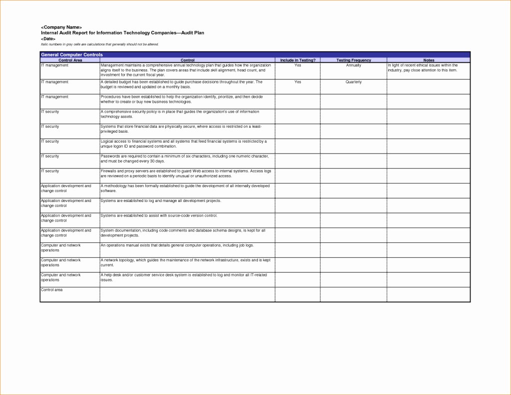 excellent internal audit report format template for information technology panies with blue table of general puter control