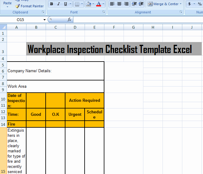 Inspection Checklist Template Excel Elegant Workplace Inspection Checklist Template Excel