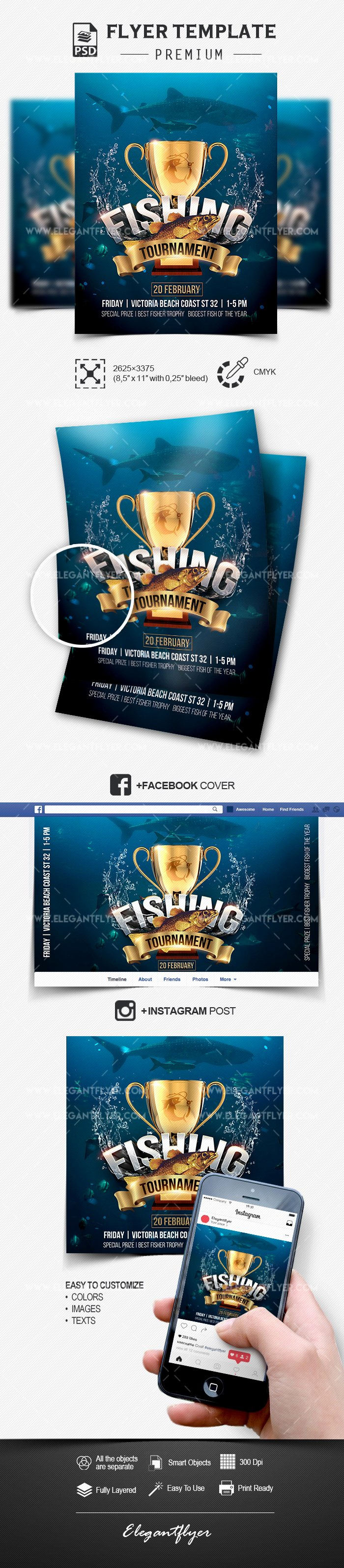 fishing tournament psd flyer template cover instagram post