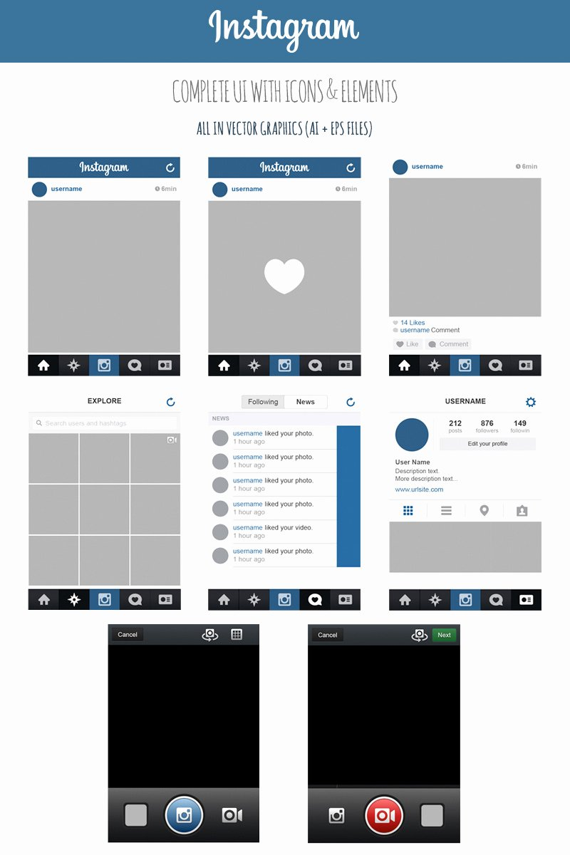Instagram Post Template Psd Lovely Free Instagram Plete Vector Ui with Icons & Elements