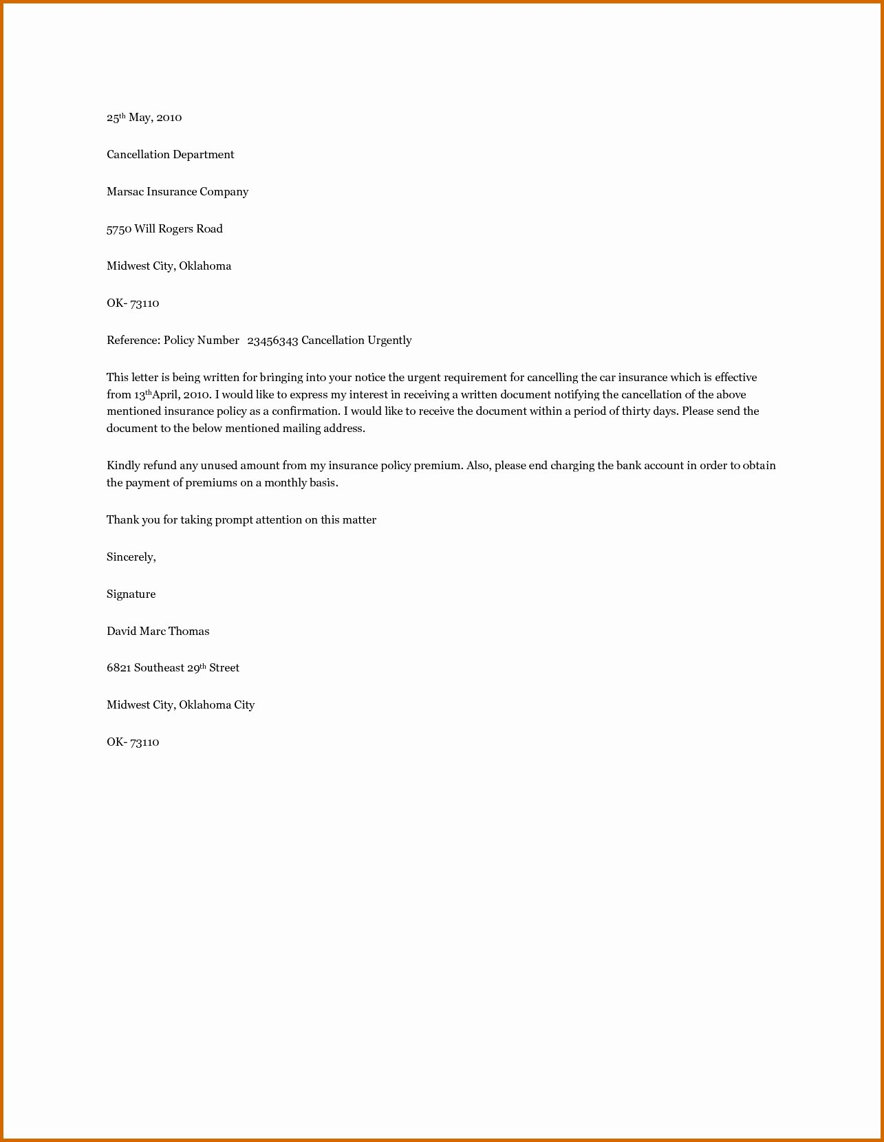 Insurance Cancellation Letter Template Awesome Car Insurance Cancellation Letter Template Samples