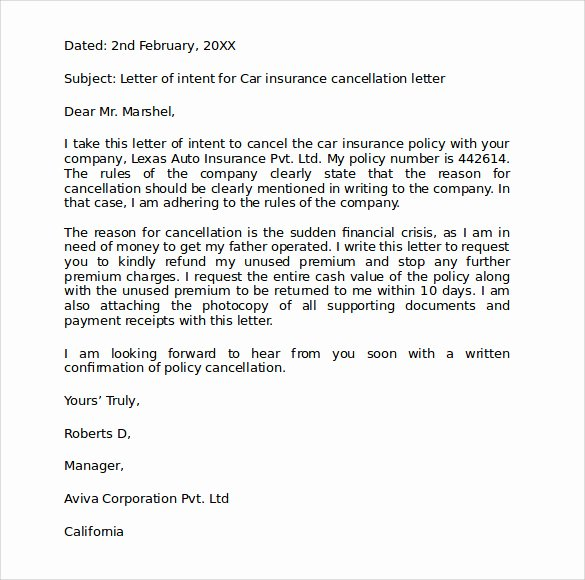 Insurance Cancellation Letter Template Awesome Car Insurance Cover Letter 2016 Samplebusinessresume