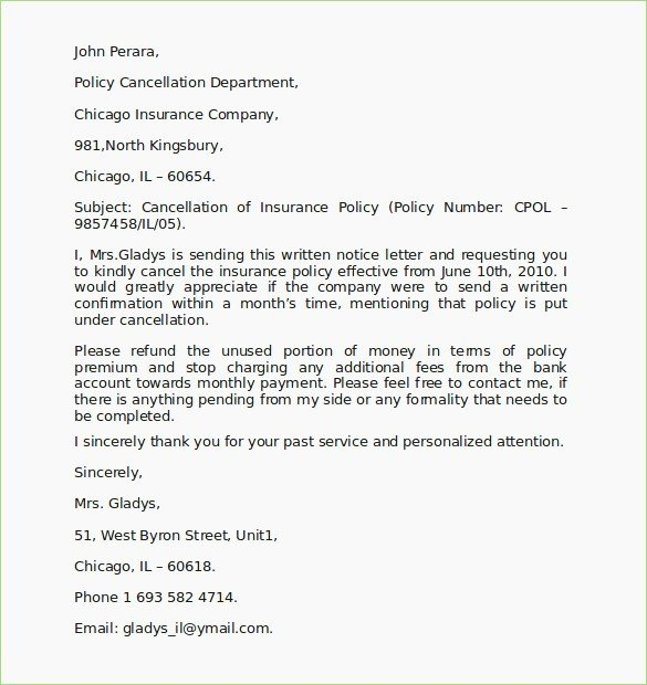 Insurance Cancellation Letter Template Beautiful Insurance Cancellation Letter format – thepizzashop