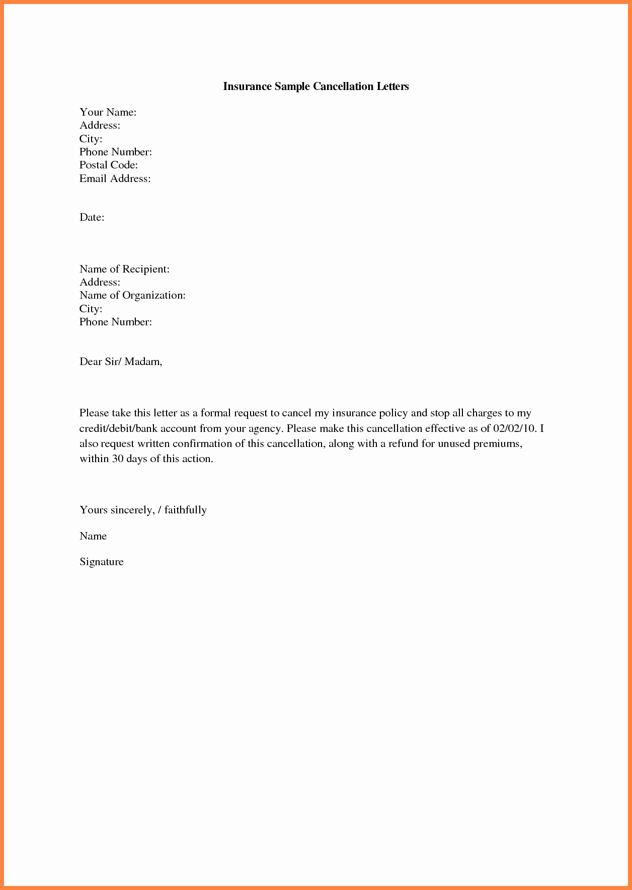 Insurance Cancellation Letter Template Lovely 6 Insurance Cancellation Notice Sample