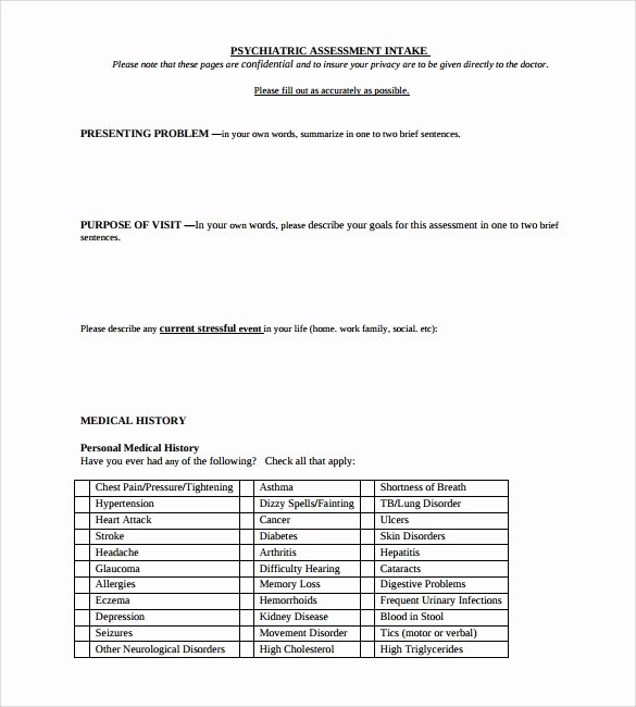 Intake form Template Word Beautiful 8 Sample Psychological Evaluation Templates to Download
