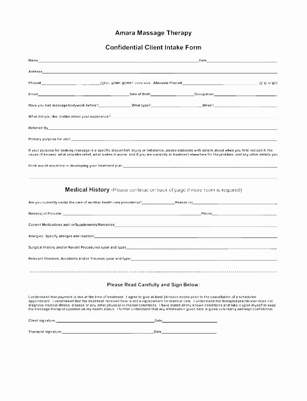 Intake form Template Word Luxury Free Patient Intake form Template New Massage therapy