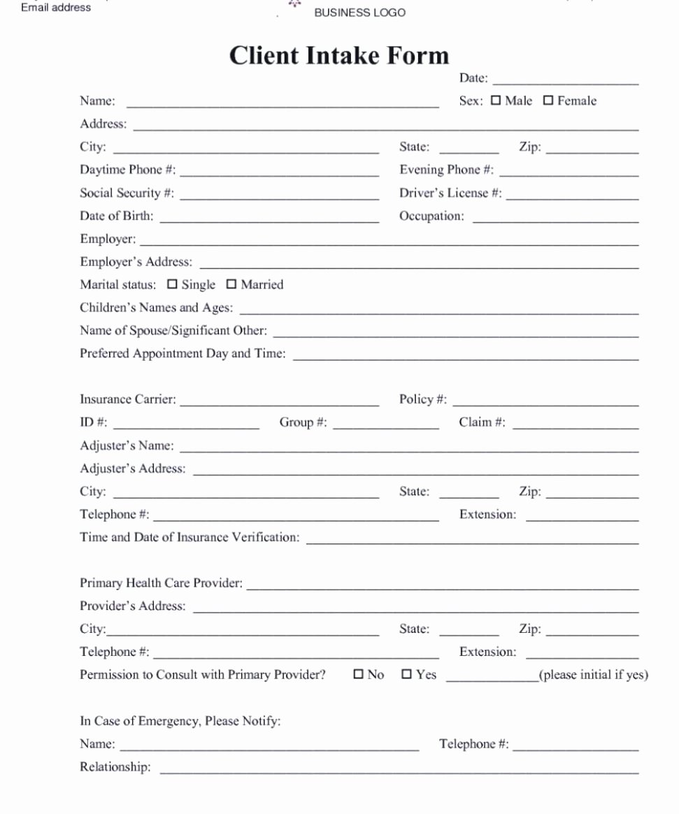 Intake form Template Word Luxury Patient Intake form Intake form 3 Client Intake form