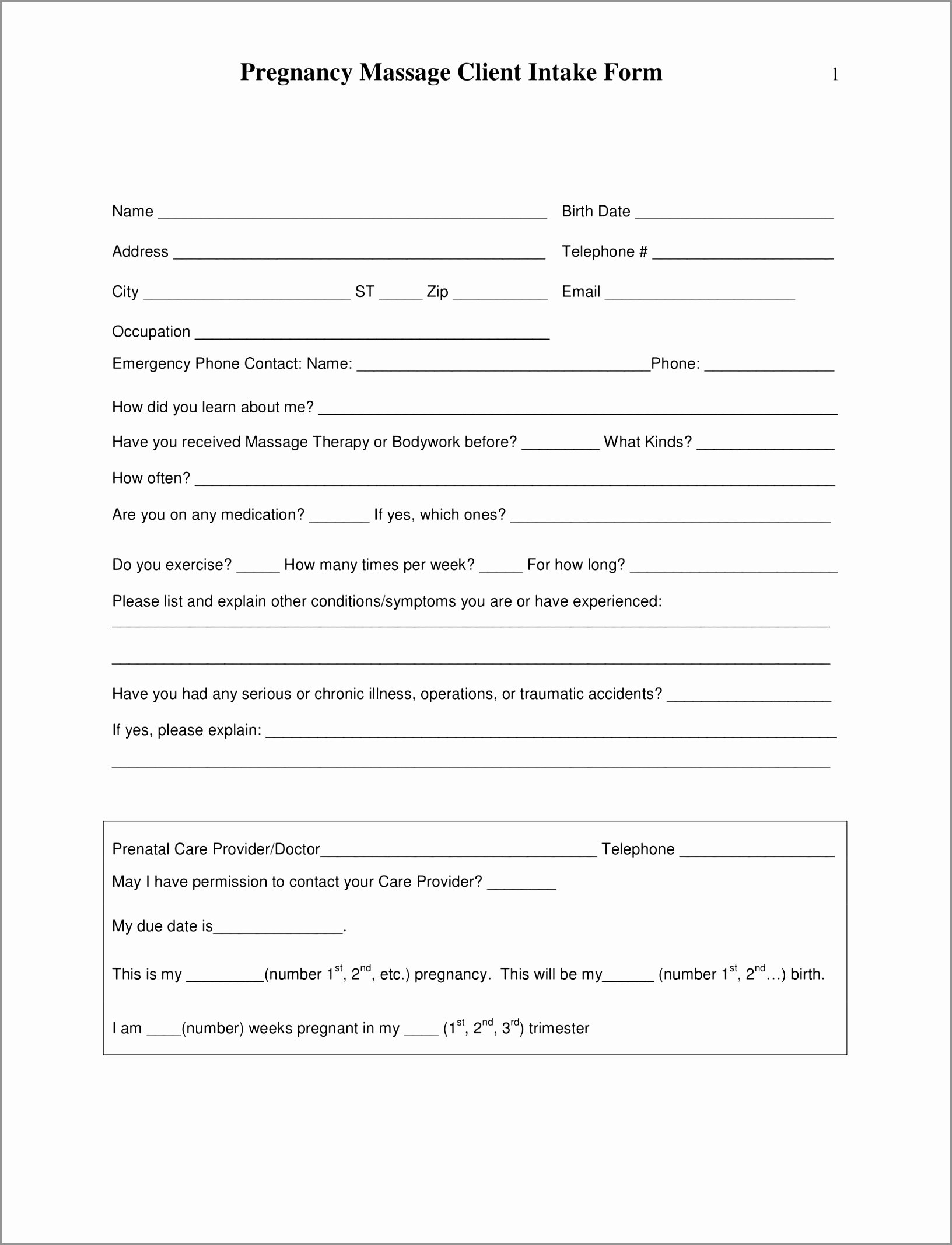 Intake form Template Word Unique 5 Massage therapy Intake form Template