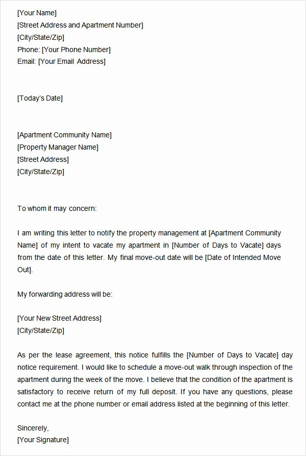 Intent to Vacate Template Awesome Two Weeks Notice Letter 12 Download Free Documents In Word