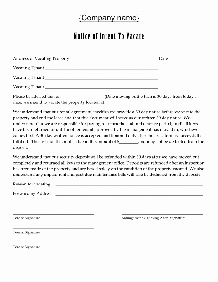 Intent to Vacate Template Inspirational Notice Of Intent to Vacate Free Documents for