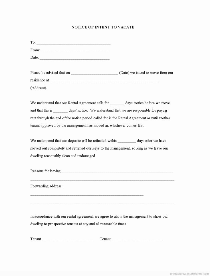 Intent to Vacate Template Luxury Sample Printable Notice Of Intent to Vacate form