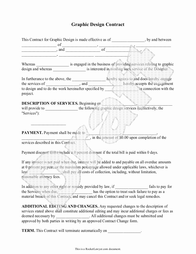 Interior Design Contract Template Awesome Sample Graphic Design Contract form Template