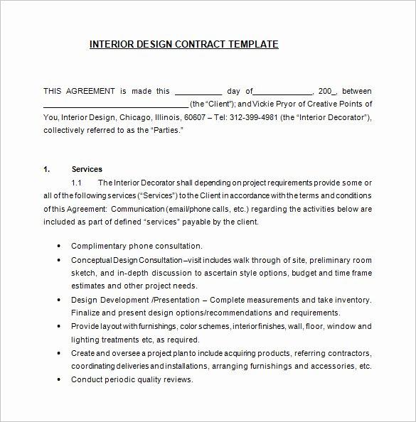 Interior Design Contract Template Best Of 8 Interior Designer Contract Templates Pdf Doc