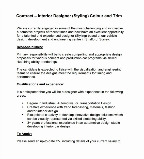 Interior Design Contract Template Best Of Interior Design Contract Sample Pdf