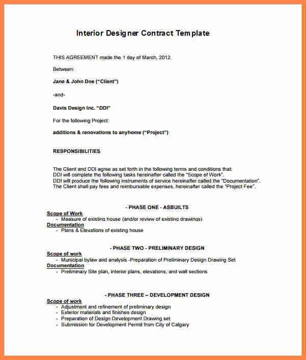 Interior Design Contract Template Elegant 5 Interior Design Letter Of Agreement Template