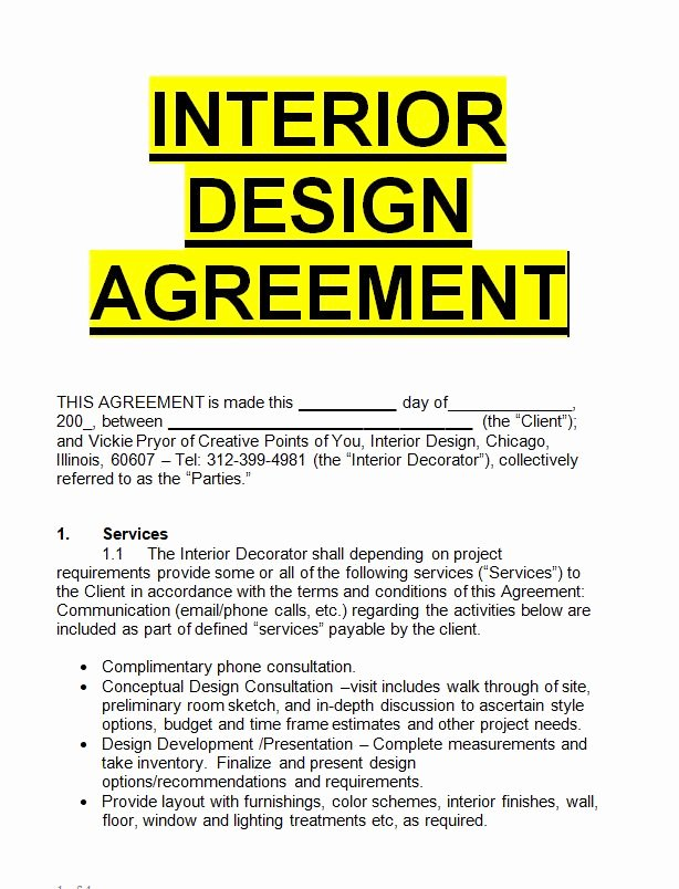 Interior Design Contract Template Elegant Interior Design Agreement Template Sample Letters for Free