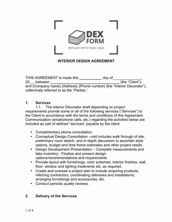 Interior Design Contract Template Fresh Interior Design Contract Sample