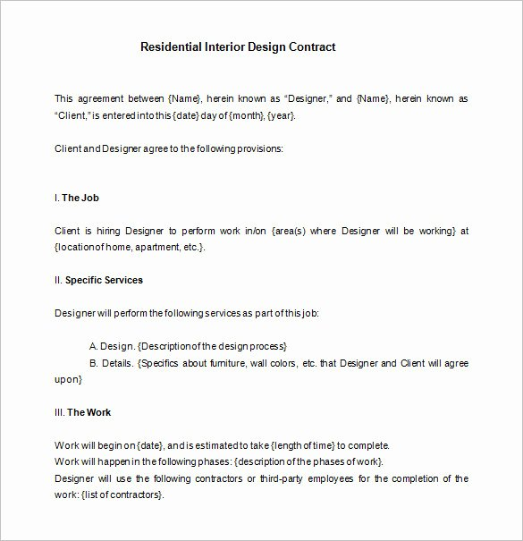 Interior Design Contract Template Lovely 8 Interior Designer Contract Templates Pdf Doc