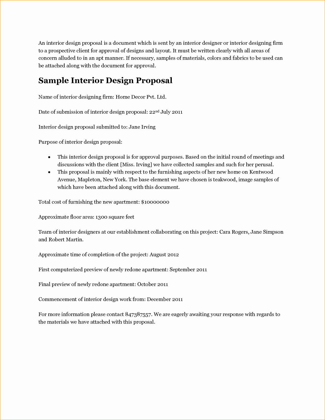 Interior Design Proposal Template Inspirational Design Proposal Template Business Proposal Templated