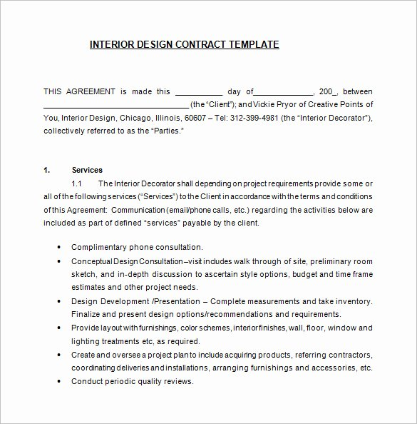 Interior Design Proposal Template Unique 8 Interior Designer Contract Templates Pdf Doc