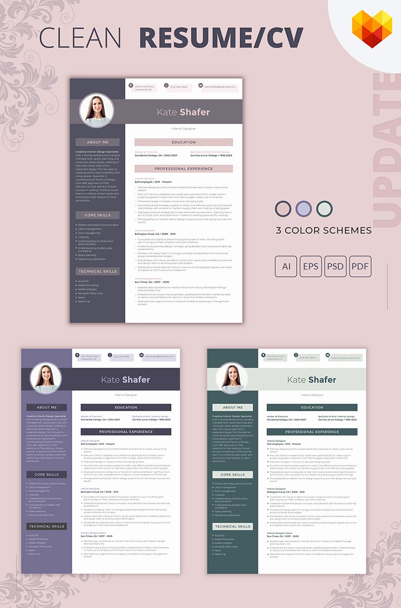 Interior Design Resume Template Awesome Kate Shafer Interior Designer Resume Template