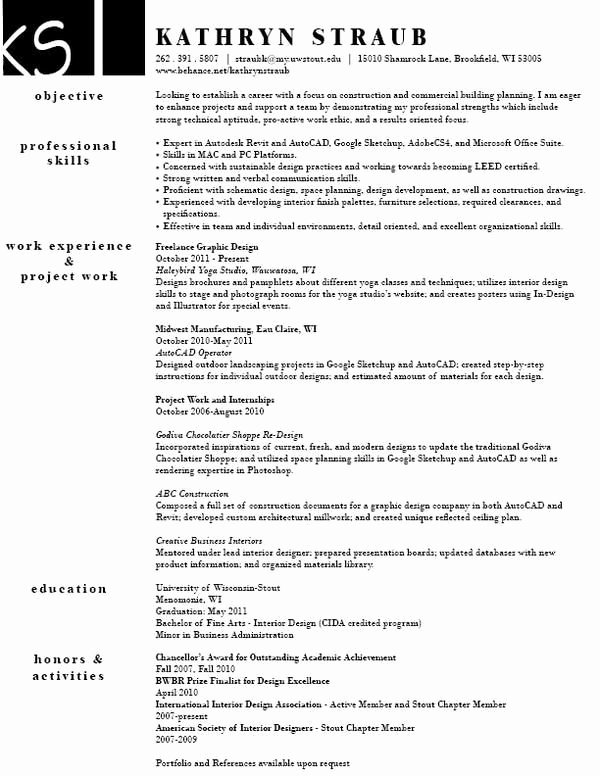 Interior Design Resume Template Awesome Sample Interior Design Resume Best Resume Collection