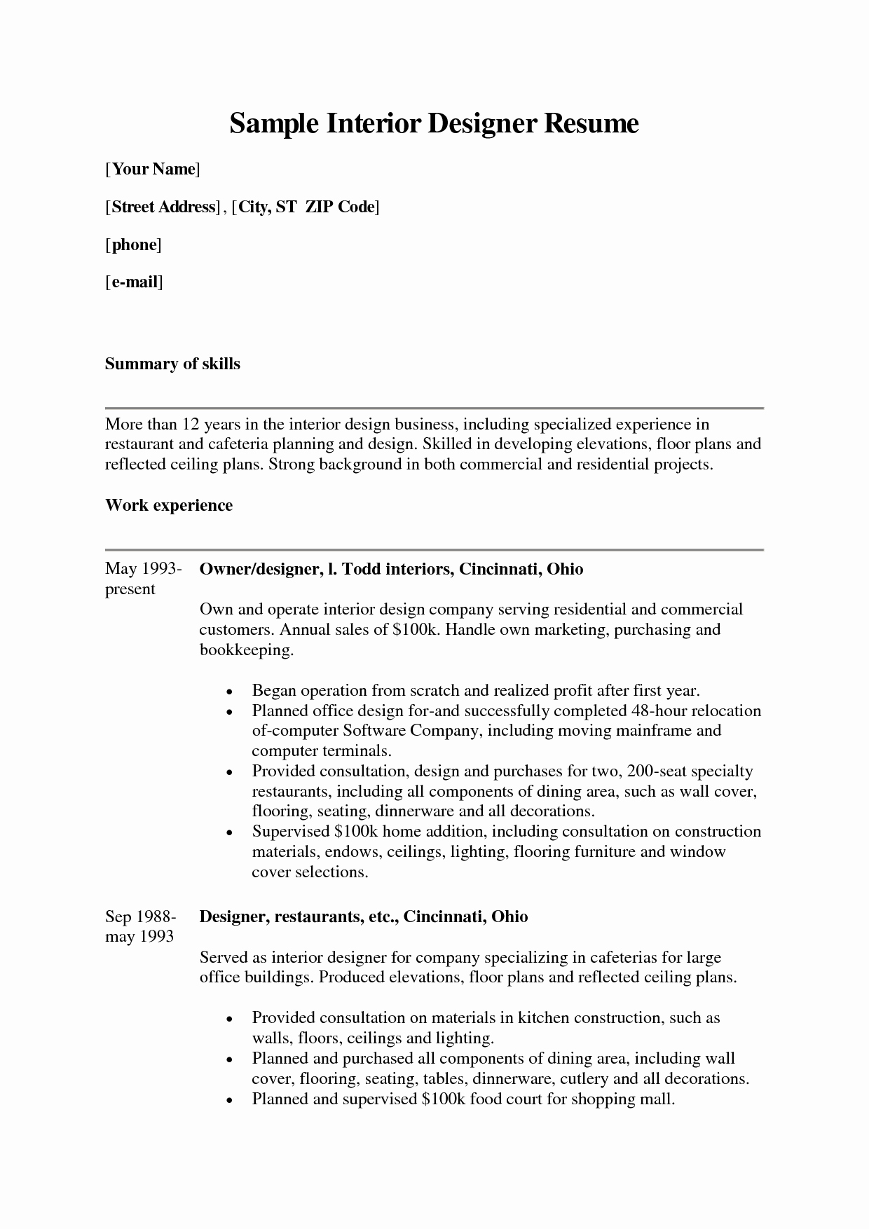 Interior Design Resume Template Elegant Career Objective for Interior Designer