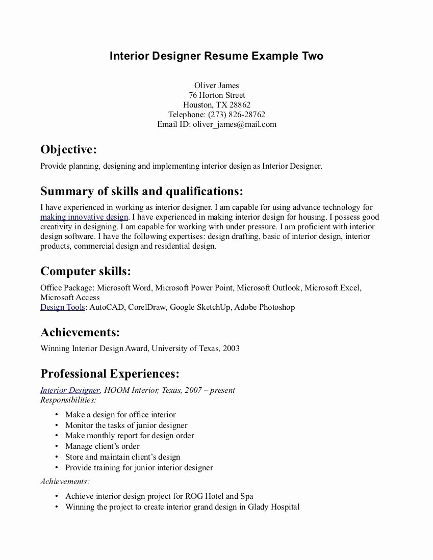 Interior Design Resume Template Unique Professional Interior Design Resume Examples – Perfect