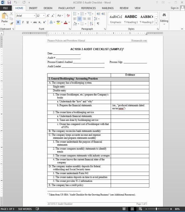 Internal Audit Checklist Template Awesome 38 Brilliant Template Samples for Audits Thogati
